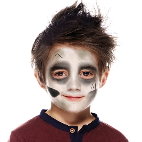 Boy with step 2 of Zombie face paint design