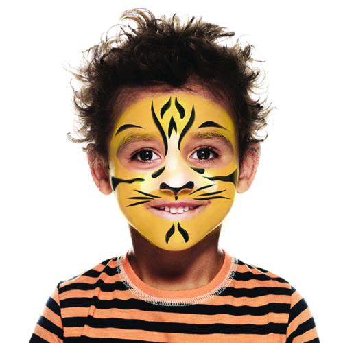 Boy with Tiger face paint design