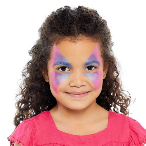 girl with step 1 of Butterfly face paint design