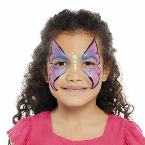 girl with step 2 of Butterfly face paint design
