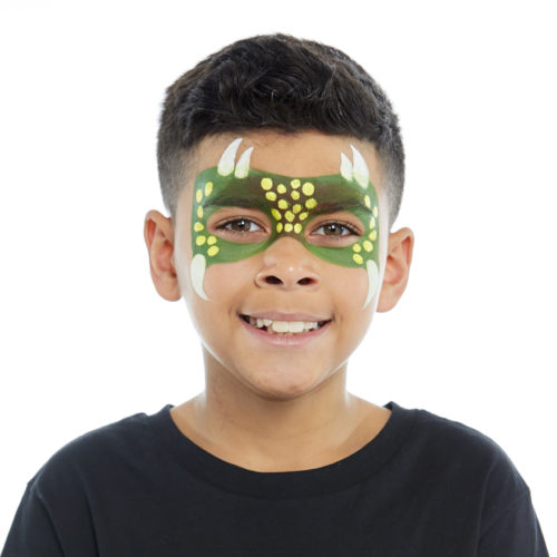 Boy with step 2 of Dinosaur face paint design