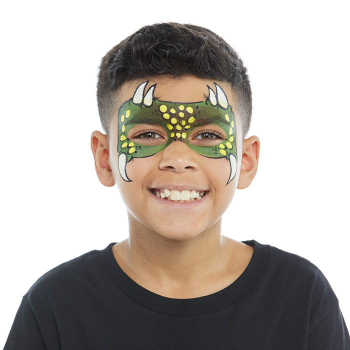 Boy with Dinosaur face paint design