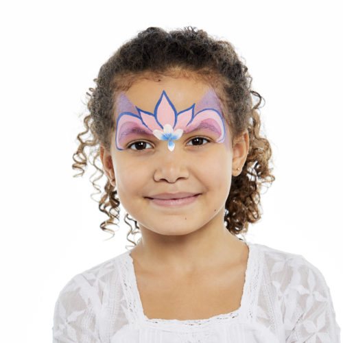 girl with step 1 of Princess face paint design