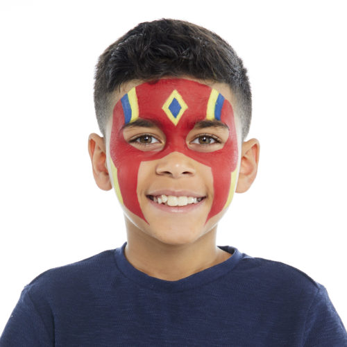 Boy with step 2 of Super Warrior face paint design