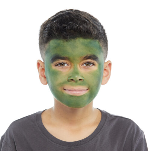Boy with step 1 of Frankenstein face paint design for Halloween