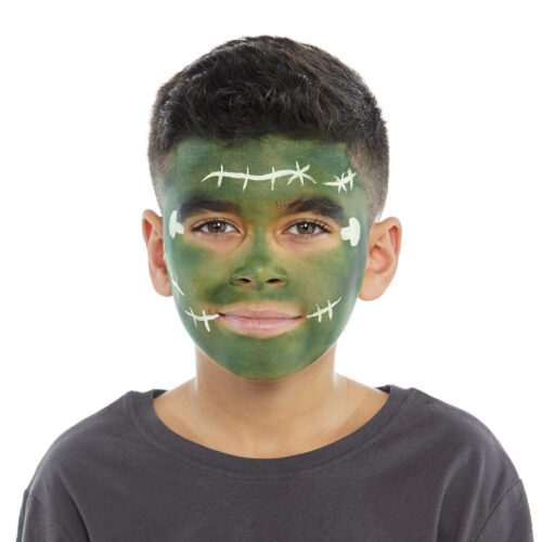 Boy with step 2 of Frankenstein face paint design for Halloween