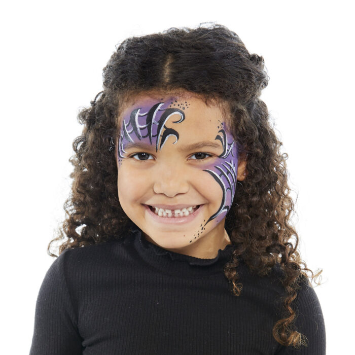 Girl with Spider Girl face paint design for Halloween