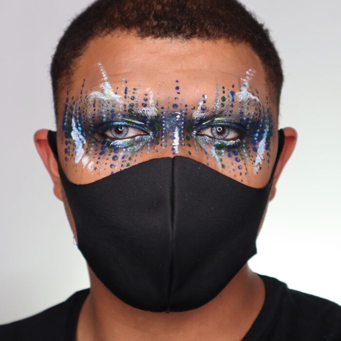 Boy with Glitter Mask face paint design with a face mask