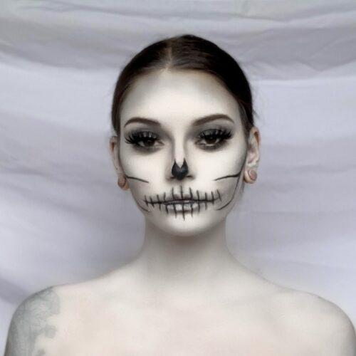 Step 2 of Cracked Skull Makeup Design