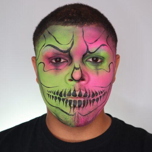 Step 2 of Neon Skull Makeup Design
