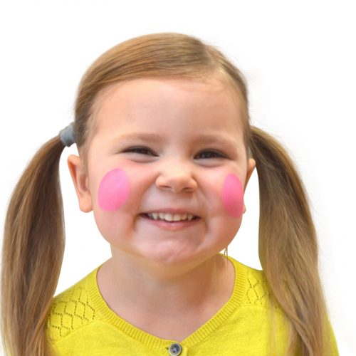 Girl with simple kids bee face paint. Step 1 of 3