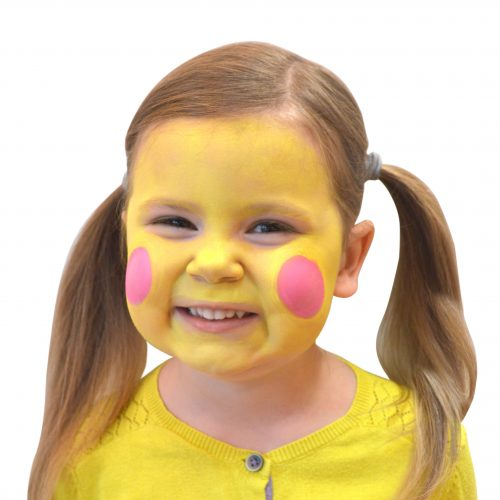 Girl with simple kids bee face paint. Step 2 of 3