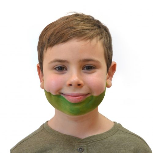 Boy with simple kids crocodile face paint. Step 1 of 3