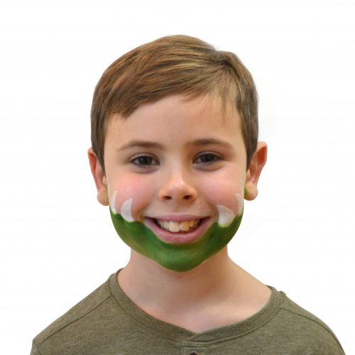Boy with simple kids crocodile face paint. Step 2 of 3