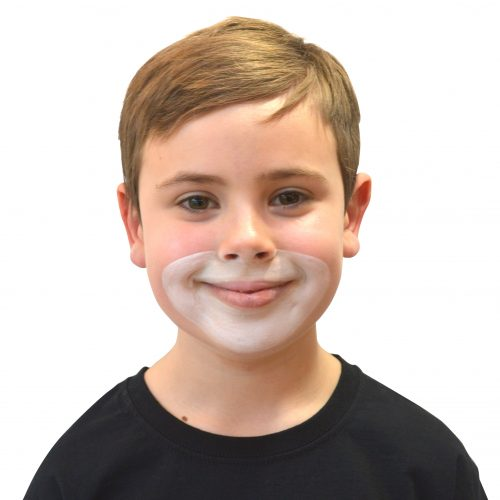 Boy with simple kids lion face paint. Step 1 of 3