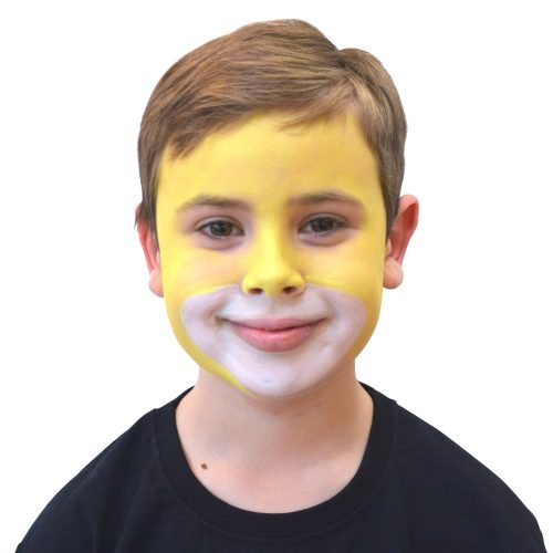 Boy with simple kids lion face paint. Step 2 of 3