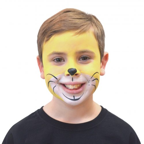 Boy with simple kids lion face paint. Step 3 of 3