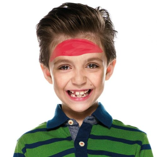 Boy with simple kids pirate face paint. Step 1 of 3