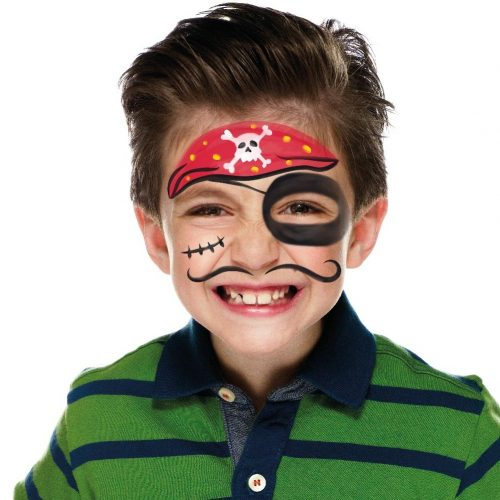 Boy with simple kids pirate face paint. Step 3 of 3