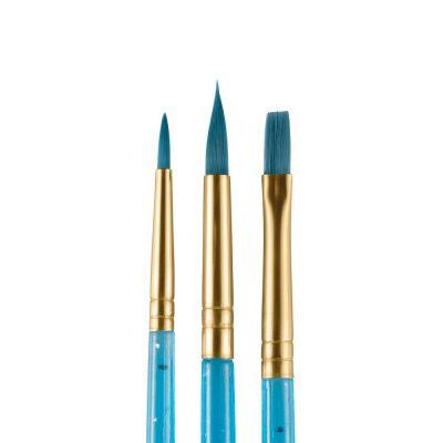 Set of blue starter face paint brushes
